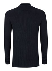 Topman Blue Selected Homme Navy Ribbed Textured Turtle Neck Sweater
