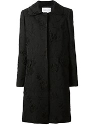 Prabal Gurung Floral Embroidered Coat Black
