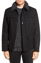 Kenneth Cole Men's New York Faux Shearling Collar Wool Blend Jacket Black