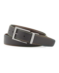 Robert Graham Summerland Topstitched Leather Belt Black