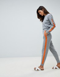 Micha Lounge Oversized Jumper With Contrast Stripe Detail Co Ord Grey Orange