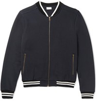 Dries Van Noten Cotton Jersey Varsity Jacket Navy