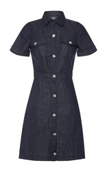 Manoush Crystal Button Front Denim Dress Blue