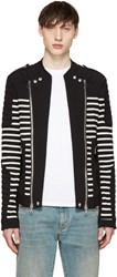 Balmain Black And White Striped Biker Sweater
