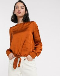 Only Mia Long Sleeve Tie Front Satin Blouse Orange