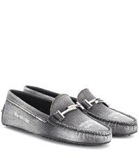 Tod's Gommino Double T Denim Loafers Black
