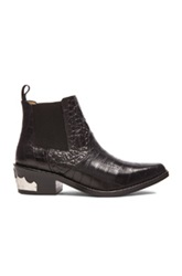 Toga Pulla Embossed Buckle Bootie In Black Animal Print