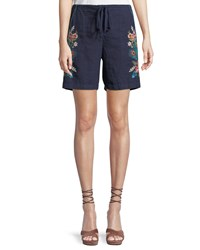 Johnny Was Vernazza Drawstring Embroidered Linen Shorts Petite Navy