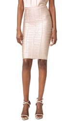 Herve Leger Pencil Skirt Rose Gold Combo