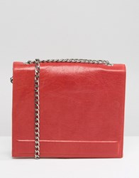Urbancode Real Leather Chain Strap Box Bag In Red Red