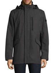 Tumi Hooded Woven Coat Melange