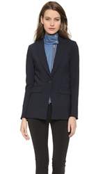 Veronica Beard Long And Lean Jacket With Denim Dickey Navy