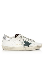 Golden Goose Super Star Low Top Leather Trainers Green White