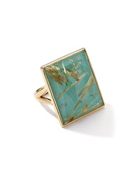Ippolita 18K Gold Gelato Medium Rutilated Quartz Turquoise Ring