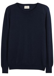 Oliver Spencer Blade Navy Merino Wool Jumper
