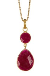 Savvy Cie 18K Yellow Gold Vermeil Faceted Ruby Tear Drop Pendant Necklace Red