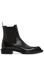 Alexander Mcqueen 35Mm Leather Ankle Boots Black