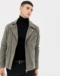 Selected Homme Suede Biker Jacket Grey