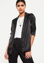 Missguided Black Spot Pattern Blazer