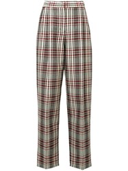 Derek Lam High Rise Plaid Trousers Black