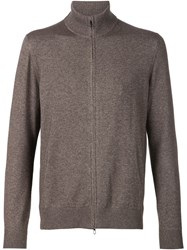 Loro Piana Zip Turtleneck Cardigan Brown
