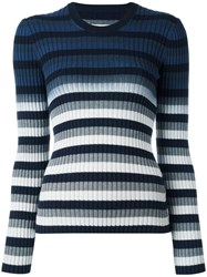 Maison Martin Margiela Striped Ombre Knitted Jumper Blue