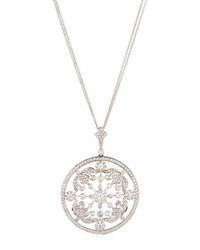 Diana M. Jewels 18K Round White Diamond Pendant Necklace