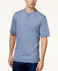 Weatherproof Melange Jersey Henley Shirt Medium Blue