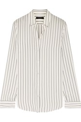 The Row Peter Striped Silk Shirt Ivory