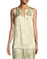 St. John Outlined Painted Floral Silk Shell White Pattern