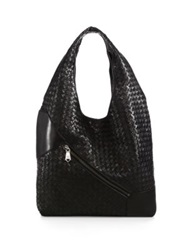 Christopher Kon Weekend Woven Leather Hobo Black