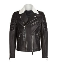 Philipp Plein Shearling Trimmed Leather Biker Jacket Male Black