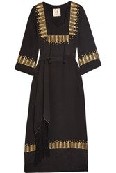 Figue Chachani Embellished Silk Dress Black