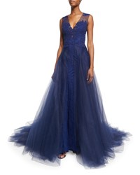 Monique Lhuillier Lace Tulle Overskirt Navy