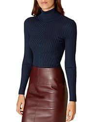 Karen Millen Ribbed Turtleneck Sweater Navy