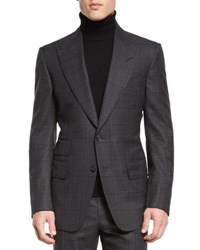 Tom Ford Windsor Base Windowpane Two Piece Suit Gray