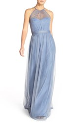 Women's Amsale 'Aliki' Illusion Yoke Tulle Halter Gown