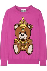 Moschino Intarsia Cotton Sweater Pink