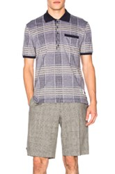 Thom Browne Oversize Check Pique Polo In Blue Checkered And Plaid