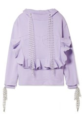 House Of Holland Flocked Tulle Trimmed Ruffled Cotton Jersey Hooded Top Lavender