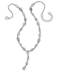Charter Club Silver Tone Crystal Lariat Necklace 17 2 Extender Created For Macy's Mint Green