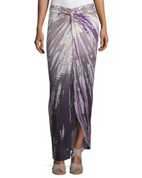 Young Fabulous And Broke Young Fabulous And Broke Ruched High Low Ombre Tie Dye Maxi Skirt Plum Rain Ombre
