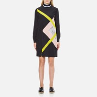Msgm Women's High Neck Long Sleeve Dress With Contrast Diamond Print Black
