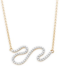 Wrapped Diamond Squiggle Pendant Necklace 1 6 Ct. T.W. In 10K Gold