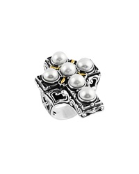 Konstantino Silver And 18K Scrollwork Cross Pearl Ring Women's