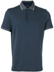 Michael Kors Geometric Print Polo Shirt Men Cotton Xl Blue