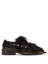 Simone Rocha Tinsel Trimmed Leather Loafers Black