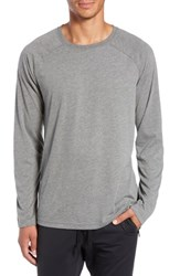Alo Yoga Triumph Raglan Long Sleeve T Shirt Grey Triblend