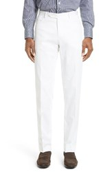 Canali Men's Big And Tall Flat Front Solid Stretch Cotton Trousers White