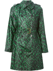 Marc Jacobs Leopard Print Rain Coat Green